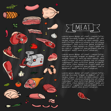 Hand drawn doodle set of cartoon different kind of meat and poultry. Vector illustration set. Sketchy food elements collection: Lamb, Pork, Ham, Mince, Chicken, Steak, Bacon, Sausage, Salami, Veggie. Ilustracja