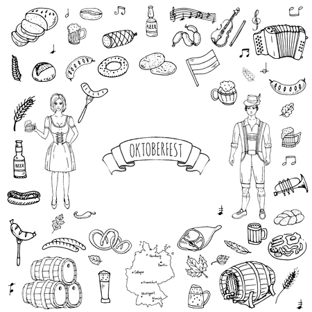 Hand drawn doodle set of Oktoberfest icons. Vector illustration set. Cartoon Bavarian elements. Sketchy October fest collection: Sausage, Barrels of Beer, Bread, Girl and Man in traditional costumes. Vetores