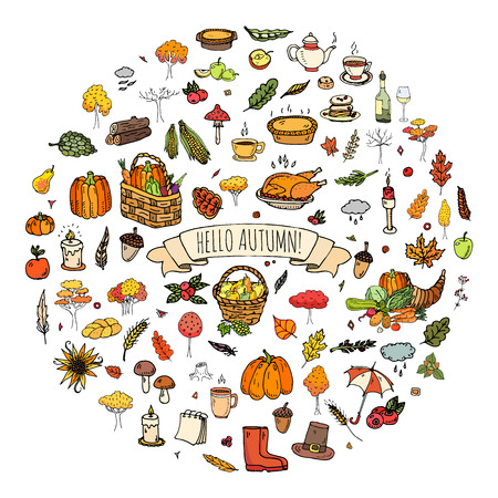 Hand drawn doodle Autumn icons set. Vector illustration. Fall symbols collection. Cartoon various seasonal elements: turkey, harvest, vegetables, pumpkin pie, leaves, trees, hot tea, wine, mushrooms
