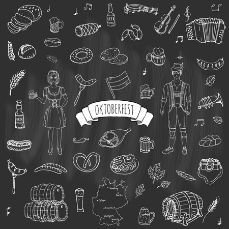 bavarian girl: Hand drawn doodle set of Oktoberfest icons. Vector illustration set. Cartoon Bavarian elements. Sketchy October fest collection: Sausage, Barrels of Beer, Bread, Girl and Man in traditional costumes. Illustration