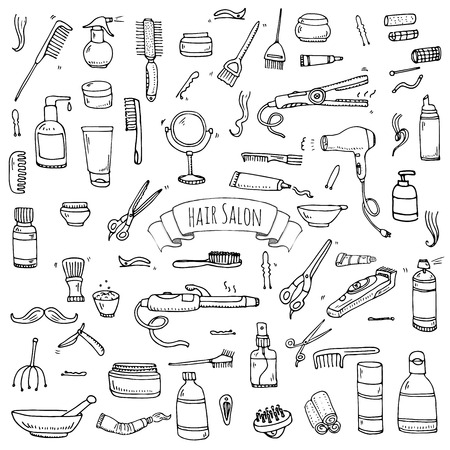 Hand drawn doodle Hair salon icons set Иллюстрация