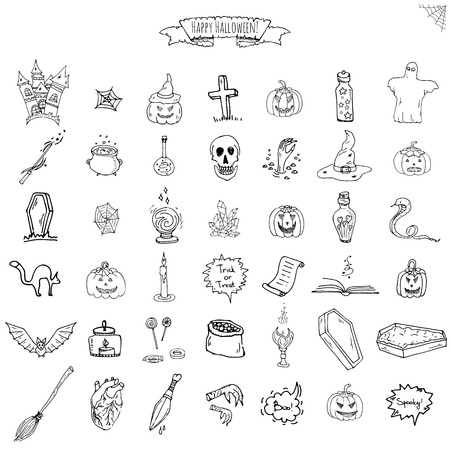 Hand drawn doodle Happy Halloween icons set 向量圖像