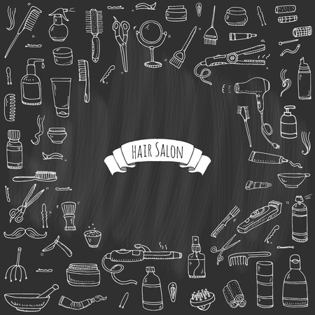 drier: Hand drawn doodle Hair salon icons set Illustration