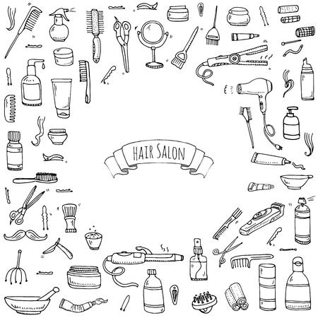Hand gezeichnet Doodle Friseur Icons Set Standard-Bild - 63622441
