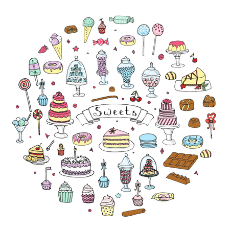 Hand drawn doodle Sweets set.