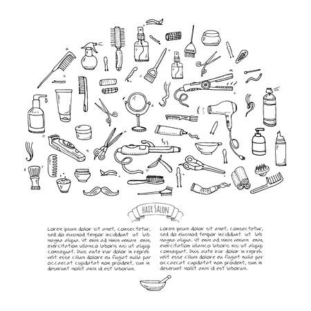 permanent wave: Hand drawn doodle Hair salon icons set Illustration
