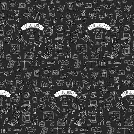 voter registration: Seamless pattern hand drawn doodle Vote icons set