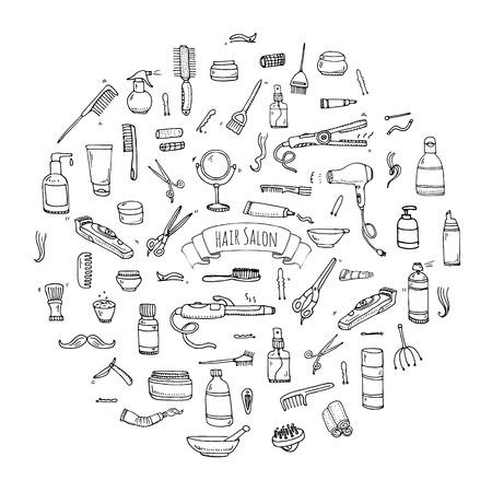 Hand drawn doodle Hair salon icons set Illustration
