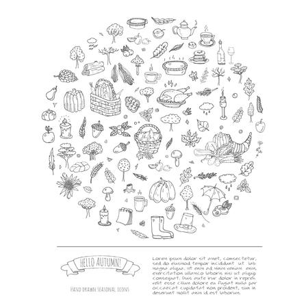 Hand drawn doodle Autumn icons set