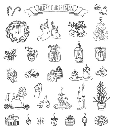 chinese holly: Set of hand drawn sketchy Merry Christmas elements.
