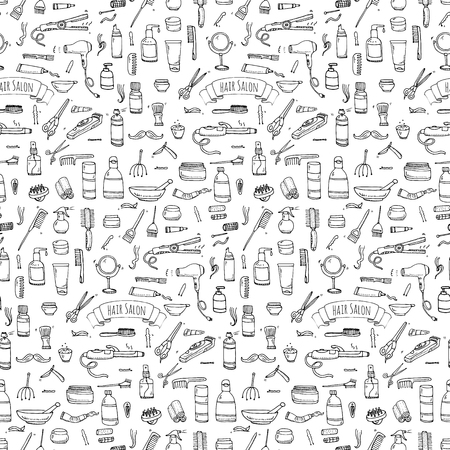 원활한 패턴 손으로 그린 낙서 헤어 살롱 아이콘을 설정합니다. 스톡 콘텐츠 - 63622771