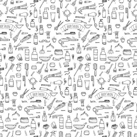 permanent wave: Seamless pattern hand drawn doodle Hair salon icons set