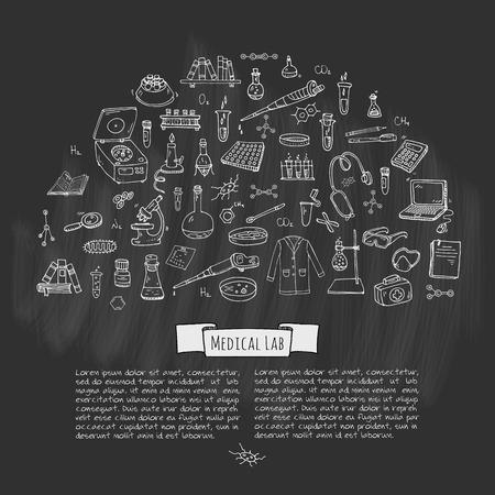 Hand drawn doodle Medical laboratory icons set Ilustracja