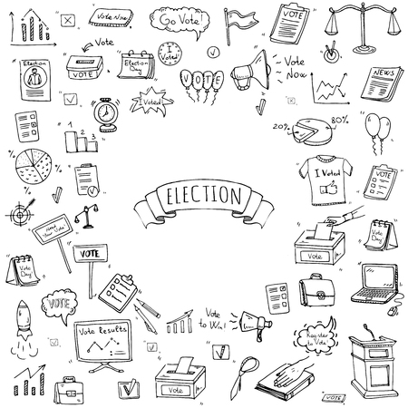 voter registration: Hand drawn doodle Vote icons set