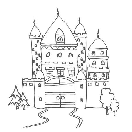 highness: Hand drawn cartoon fairy tale castle icon. Vector illustration. Doodle style Castle for princess. Sketch tree, fairytale, game icon, cute magic kingdom. Old building facade. Tower with flags.