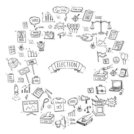 Hand Drawn Doodle Vote Icons Set Vector Illustration Election