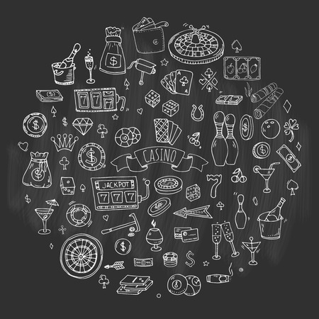 bet: Hand drawn doodle set of Casino icons. Vector illustration set. Cartoon Gambling symbols. Sketchy game elements collection: bet, jackpot, cards, chips, coins, darts, roulette, poker, money, slot. Illustration