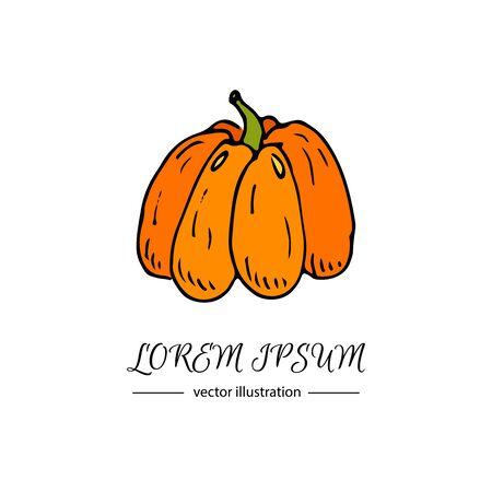 dinner date: Hand drawn doodle Autumn pumpkin icon. Vector illustration Thanksgiving collection. Cartoon celebration element: colorful orange bittersweet pumpkin, traditional harvest vegetable holiday symbol. Illustration