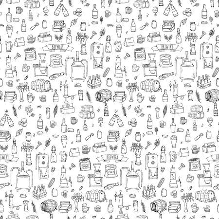 醸造所アイコンのシームレス パターン手描き落書きセット。ベクトル図を設定します。漫画のビール生産のシンボル。不完全な要素コレクションを