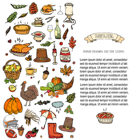 Hand drawn doodle Thanksgiving icons set Vector illustration autumn symbols collection Cartoon various celebration elements: turkey, hat, cranberry, vegetables, pumpkin pie, leaves