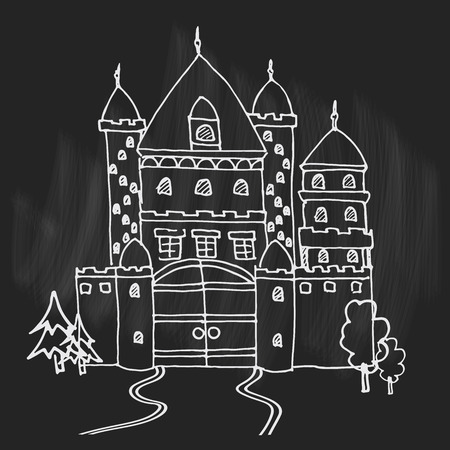 Hand drawn cartoon fairy tale castle icon. Vector illustration. Doodle style Castle for princess. Sketch tree, fairytale, game icon, cute magic kingdom. Old building facade. Tower with flags.
