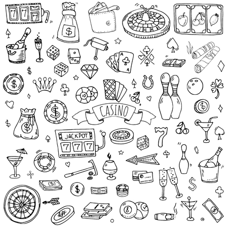 Hand drawn doodle set of Casino icons. Vector illustration set. Cartoon Gambling symbols. Sketchy game elements collection: bet, jackpot, cards, chips, coins, darts, roulette, poker, money, slot. Illustration