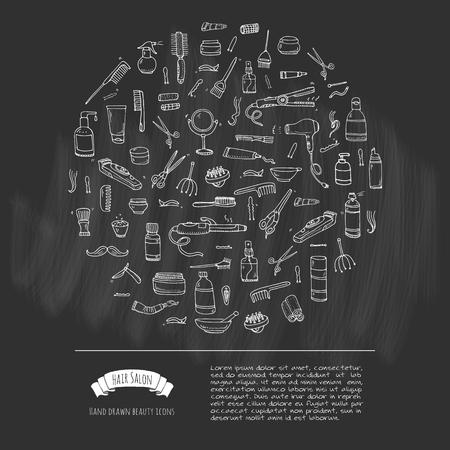 hair mask: Hand drawn doodle Hair salon icons set. Vector illustration. Barber symbols collection. Cartoon hairdressing equipment elements: shampoo, mask, hair die, scissors, iron, curlers, dryer, razor.