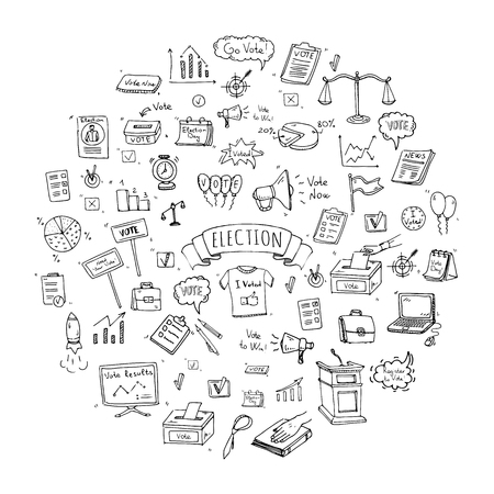 balloting: Hand drawn doodle Vote icons set. Vector illustration. Election symbols collection. Cartoon various voting elements: hand putting paper in the ballot box, speaker, scale, calendar, infographics, case. Illustration