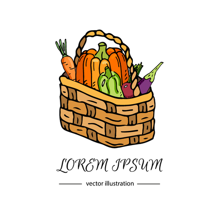 Hand drawn doodle autumn vegetables basket icon. Vector illustration thanksgiving harvest symbols. Cartoon various seasonal elements: vegetables, pumpkin, carrot, cabbage, squash, beetroot, eggplant.
