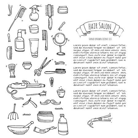 rulos: Conjunto de la mano del doodle iconos de peluquería. Ilustración del vector. Peluquería símbolos de recogida. Dibujos animados elementos del equipo de peluquería: champú, máscara, de matriz del pelo, tijeras, hierro, bigudíes, secador, afeitar.