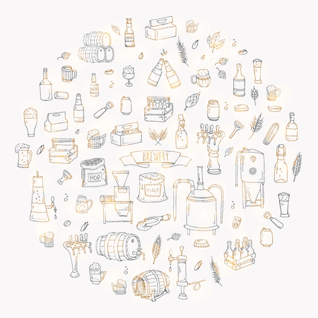 freehand tradition: Hand drawn doodle set of Brewery icons. Vector illustration set. Cartoon Craft Beer production symbols. Sketchy brewing elements collection: pub equipment, malt, hop, glass, barrel, mill, beer tap.