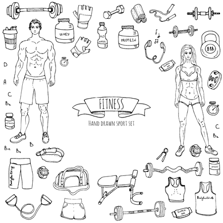 sketch: Hand drawn doodle fitness icons set. Vector illustration. Sport symbol collection. Cartoon bodybuilding various sketch elements: gym, sportsmen, diet, barbell, dumbbell, vitamin, protein, sport bag