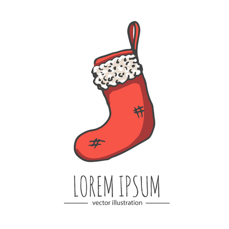 white stockings: Hand drawn doodle Red and White Empty Stocking Isolated on White Background icon. Vector illustration Christmas holiday symbol. Cartoon celebration element: hanging xmas stockings