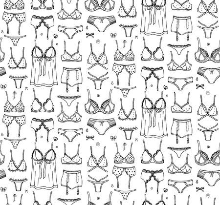 Seamless pattern Hand drawn doodle Lingerie icon set. Fashion feminine vector illustration. Sexy lacy woman underwear symbol collection. Cartoon sketch element: bra, panties, corset, brassiere, string Stock Illustratie