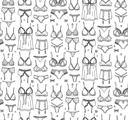 Seamless pattern Hand drawn doodle Lingerie icon set. Fashion feminine vector illustration. Sexy lacy woman underwear symbol collection. Cartoon sketch element: bra, panties, corset, brassiere, string Иллюстрация
