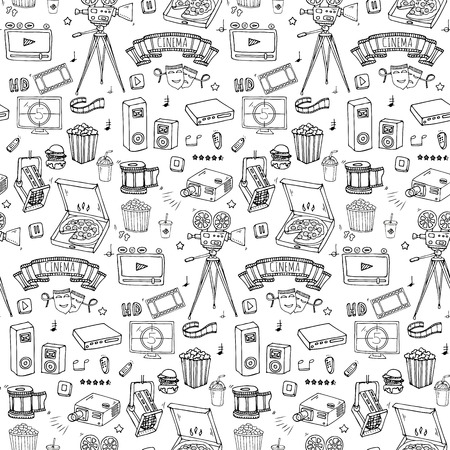 cinematography: Seamless pattern Hand drawn doodle Cinema set. Vector illustration. Movie making icons. Film symbols collection. Cinematography freehand: camera, film tape, photo camera, pizza, popcorn, projector.