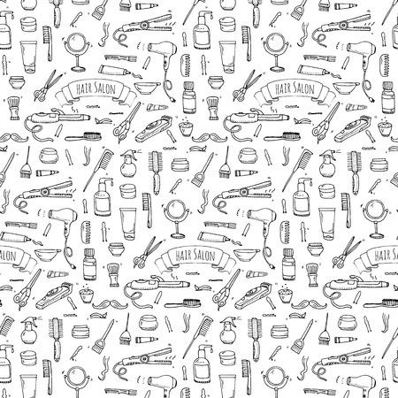 establecen sin fisuras patrón dibujado mano del doodle iconos de peluquería. Ilustración del vector. Peluquería símbolos de recogida. Dibujos animados elementos del equipo de peluquería: champú, máscara, de matriz del pelo, tijeras, plancha, secador de pelo Ilustración de vector