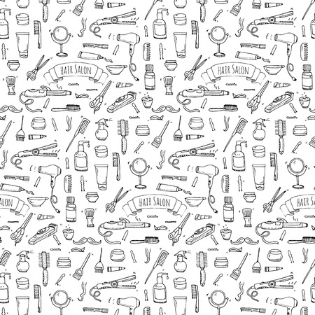 Seamless pattern hand drawn doodle Hair salon icons set. Vector illustration. Barber symbols collection. Cartoon hairdressing equipment elements: shampoo, mask, hair die, scissors, iron, hair dryer Ilustração