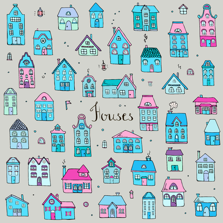 residential homes: Hand drawn doodle street homes icons set. Vector illustration. Cottage symbol collection. Cartoon village buildings various sketch architectural elements: residential houses, housing, property Illustration