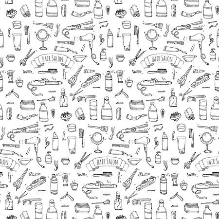 hair mask: Seamless pattern hand drawn doodle Hair salon icons set. Vector illustration. Barber symbols collection. Cartoon hairdressing equipment elements: shampoo, mask, hair die, scissors, iron, hair dryer Illustration