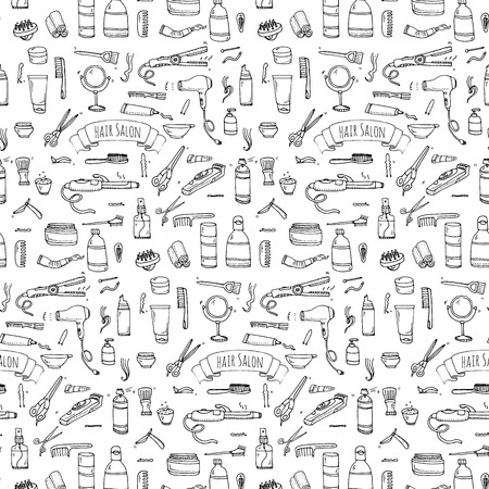 Seamless pattern hand drawn doodle Hair salon icons set. Vector illustration. Barber symbols collection. Cartoon hairdressing equipment elements: shampoo, mask, hair die, scissors, iron, hair dryer Illustration