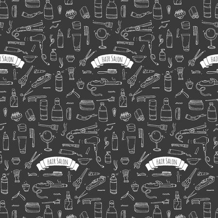 permanent wave: Seamless pattern hand drawn doodle Hair salon icons set. Vector illustration. Barber symbols collection. Cartoon hairdressing equipment elements: shampoo, mask, hair die, scissors, iron, hair dryer Illustration
