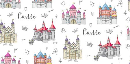 crossbow: Seamless background of set of hand drawn cartoon fairy tale princess castle icons, castle doodle vector sketch with set of fairytale, game icons - crossbow, arrow, knight helmet, flag,  crown Illustration