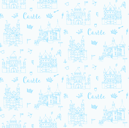 crossbow: Seamless background of set of hand drawn cartoon fairy tale prince castle icons, castle doodle vector sketch with set of fairytale, game icons - crossbow, arrow, knight helmet, flag,  crown