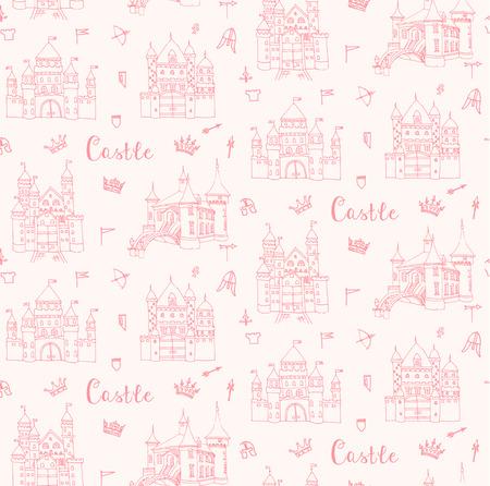 monumento: fondo transparente de conjunto de iconos dibujados a mano de dibujos animados del castillo de cuento de hadas princesa, castillo del Doodle del bosquejo del vector con el conjunto de cuento de hadas, iconos de juegos - ballesta, flechas, casco de caballo, bandera, corona