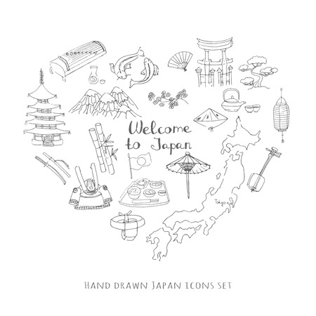 Hand Drawn Doodle Welcome To Japan Set Vector Illustration - Japan map sketch