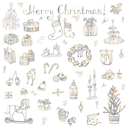 hand bells: Set of hand drawn sketchy christmas elements Doodle vector illustration elements Candles gift boxes christmas tree wreath stocking candy canes cookie bells holly decoration calligraphy Merry Christmas