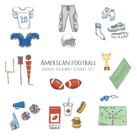 thigh: Hand drawn doodle american football set Vector illustration Sketchy sport related icons football elements, ball helmet jersey pants knee thigh shoulder pads cleats field cheerleading down indicator