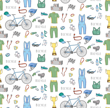 biking glove: Seamless background bicycle equipment hand drawn set, doodle vector illustration of various bicycle icons, bicycling equipment accessories icons sketch collection, bicycling gear, cycling cloth shoes