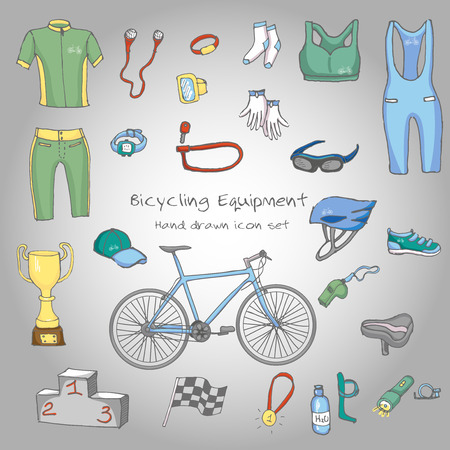 Bicycle equipment hand drawn set, doodle vector illustration of various stylized bicycle icons, bicycling equipment and accessories icons sketch collection, bicycling gear, cycling cloth and shoes Illustration